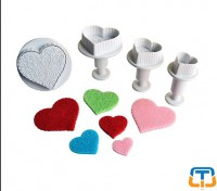 Patterned Heart 4pcs Oversized Plunger Cutter