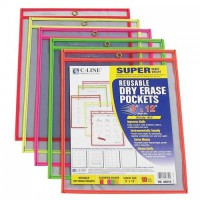 500 Packs C-Line Reusable Dry Erase Pockets, 9 x 12 Inches, 10 Pockets per Pack