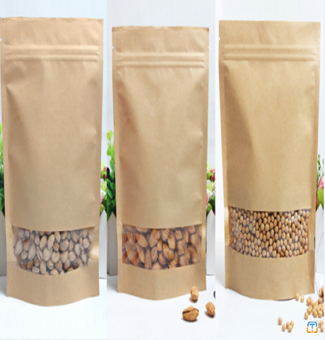 kraft paper bag with window and zipper for food packaging snacks nut and Grains