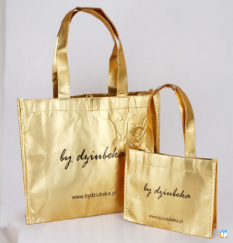 Customized printed metallic lamination non woven bag Golden Foil Laminated Non Woven Tote Bag, M