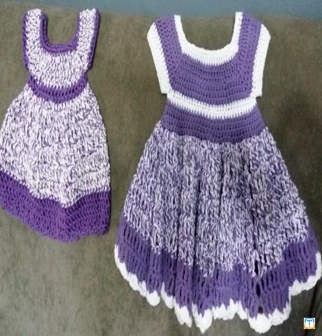 Crochet baby dress , hat