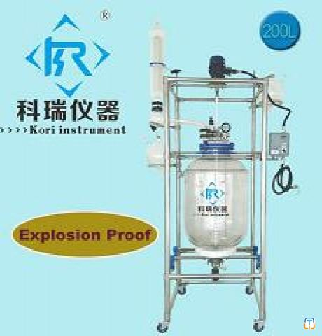 200L Chemical Jacketed Glass Reactor with condenser coil with Agitator for Pilot plant System