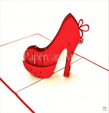 High heel 3d card- love card- i love you card- thank you card