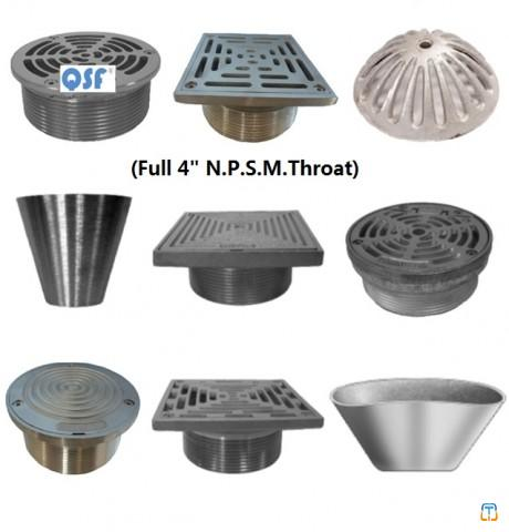 Round and Square Stainless Steel, Bronze and Nickel Bronze Strainer and Cleanout Top for Floor D