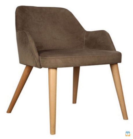 Retro Leg Brown Fabric Upholstered Cafe Chair