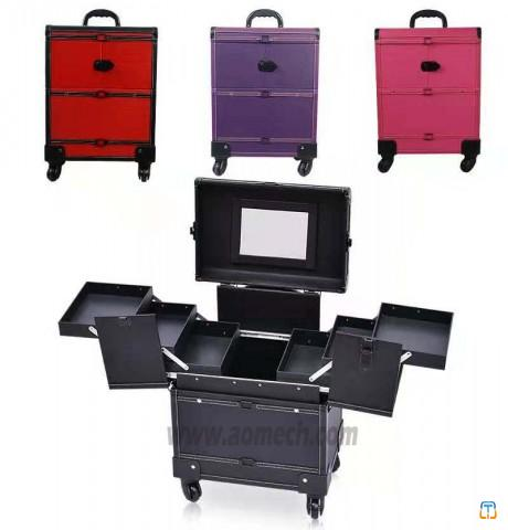 4-Wheel Trolley Beauty Cosmetic Makeup Case