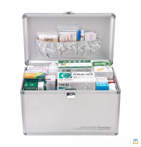 Wholesale Lockable Aluminum First Aid Kit Box  Medical Case with Lock