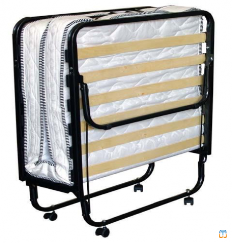 Folding bed size 80X200 cm, metal structure, with wheels, included with mattress H. 11 cm, 80 x