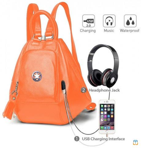 Girls convertible  orange smart backpack by Deal Especial