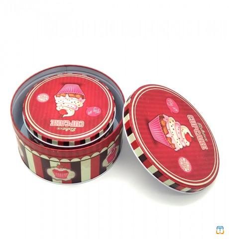 Round chocolate tins packaging cake tin containers tin cookie jar
