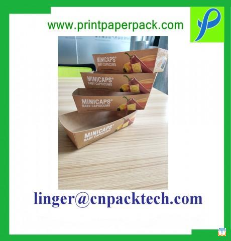Customized Food Grade Cardboard Paper Burger Tray / Box