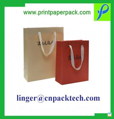 Customized Paper Bag for Festival New Year with Handle and Bow Decoration